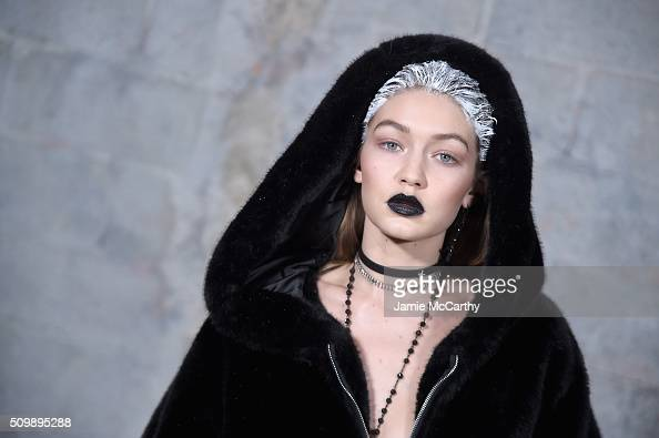 Model Gigi Hadid poses backstage at the FENTY PUMA by Rihanna AW16 Collection during Fall 2016 New York Fashion Week at 23 Wall Street on February 12...