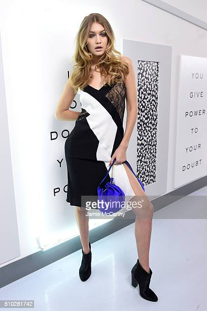 Model Gigi Hadid poses in the Diane Von Furstenberg Fall 2016 show during New York Fashion Week on February 14 2016 in New York City