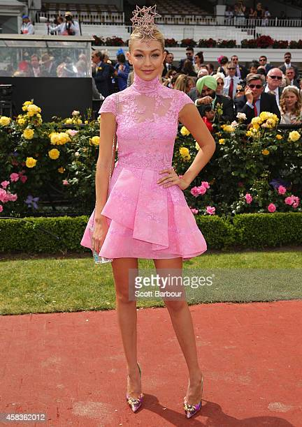 Model Gigi Hadid poses on Melbourne Cup Day at Flemington Racecourse on November 4 2014 in Melbourne Australia