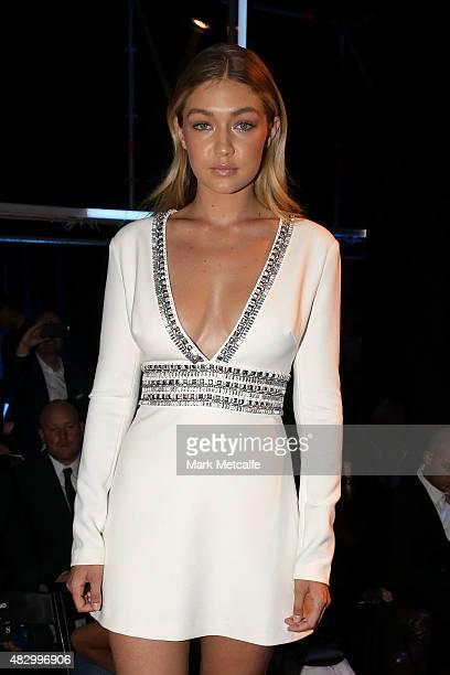 Model Gigi Hadid sits front row during the David Jones Spring/Summer 2015 Fashion Launch at David Jones Elizabeth Street Store on August 5 2015 in...