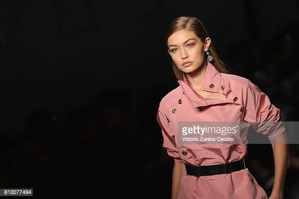 Model Gigi Hadid walks the runway at the Bottega Veneta show during Milan Fashion Week Spring/Summer 2017 on September 24 2016 in Milan Italy