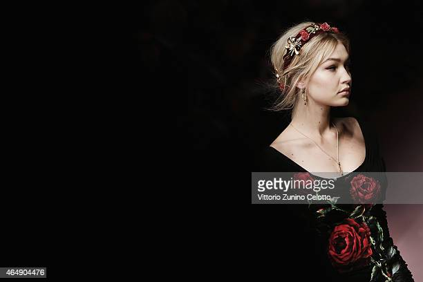 Model Gigi Hadid walks the runway at the DolceGabbana show during the Milan Fashion Week Autumn/Winter 2015 on March 1 2015 in Milan Italy