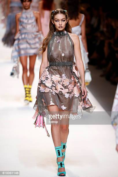 Model Gigi Hadid walks the runway at the Fendi designed by Silvia Venturini Fendi Karl Lagerfeld show Milan Fashion Week Spring/Summer 2017 on...