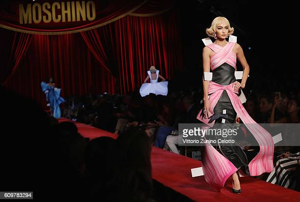 Model Gigi Hadid walks the runway at the Moschino show during Milan Fashion Week Spring/Summer 2017 on September 22 2016 in Milan Italy