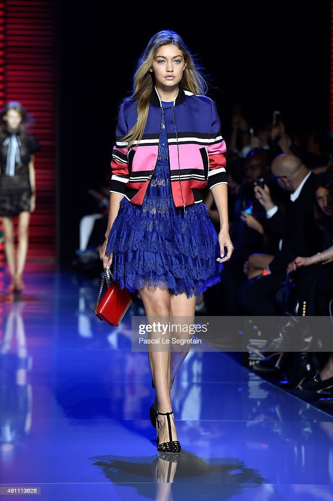 Model Gigi Hadid walks the runway during the Elie Saab show as part of the Paris Fashion Week Womenswear Spring/Summer 2016 on October 3 2015 in...