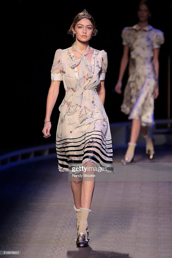 Model Gigi Hadid walks the runway during the Tommy Hilfiger Women's runway show during Fall 2016 New York Fashion Week at Park Avenue Armory on...