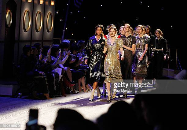 Model Gigi Hadid walks the runway during the Tommy Hilfiger Women's fashion show during Fall 2016 New York Fashion Week at Park Avenue Armory on...