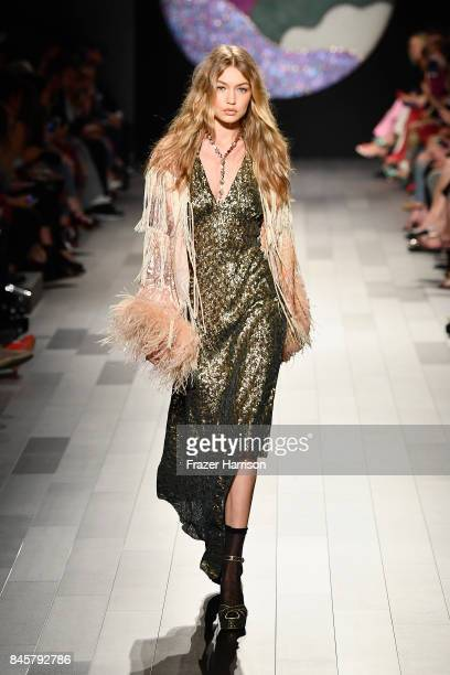 Model Gigi Hadid walks the runway for Anna Sui fashion show during New York Fashion Week The Shows at Gallery 1 Skylight Clarkson Sq on September 11...