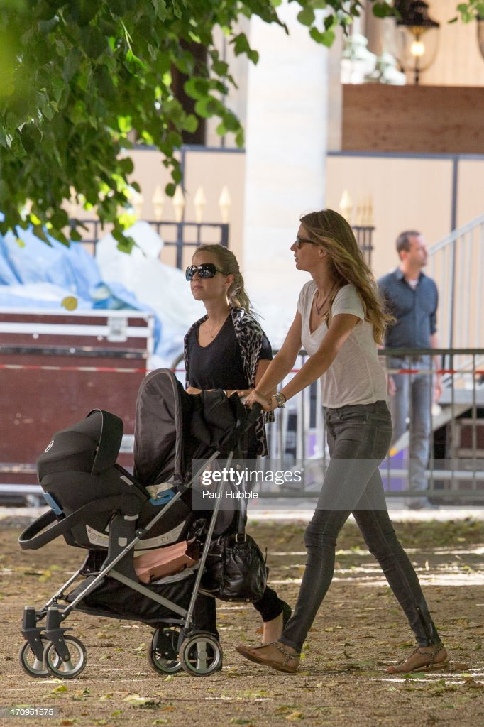 Model Gisele Bundchen (R) and her sister Rafaela Bundchen (L) are sighted at the Palais Royal on June 20, 2013 in Paris, France.