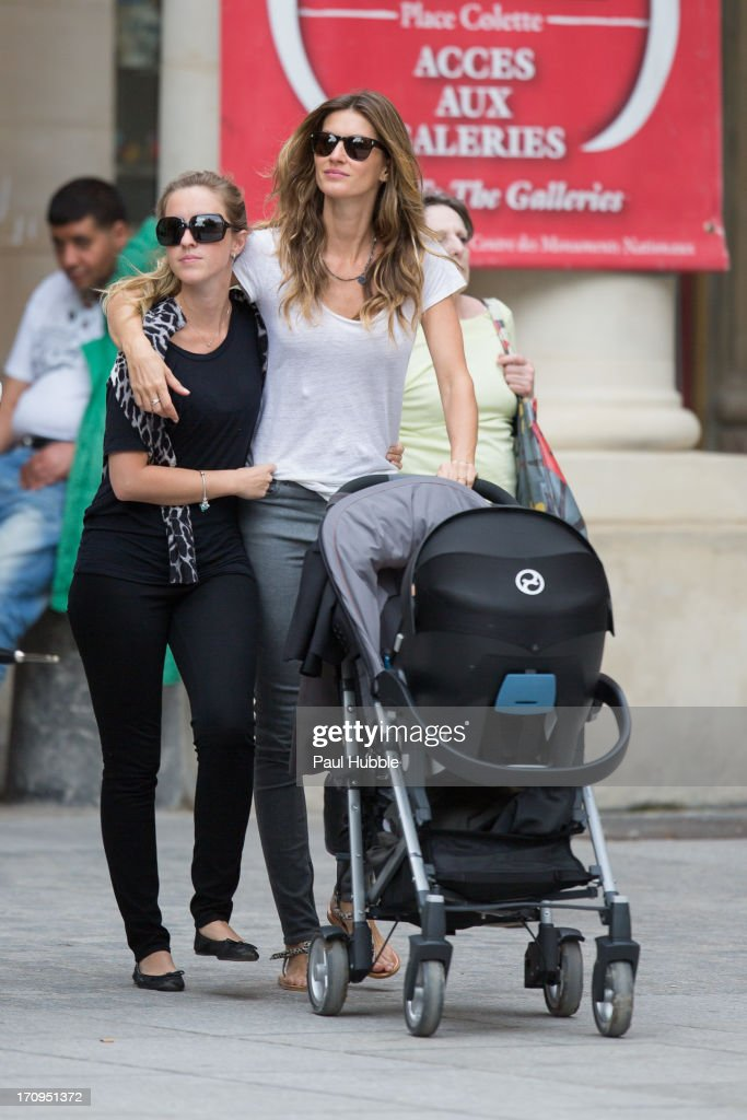 Model Gisele Bundchen (R) and her sister Rafaela Bundchen (L) are sighted on the 'Place Colette' on June 20, 2013 in Paris, France.