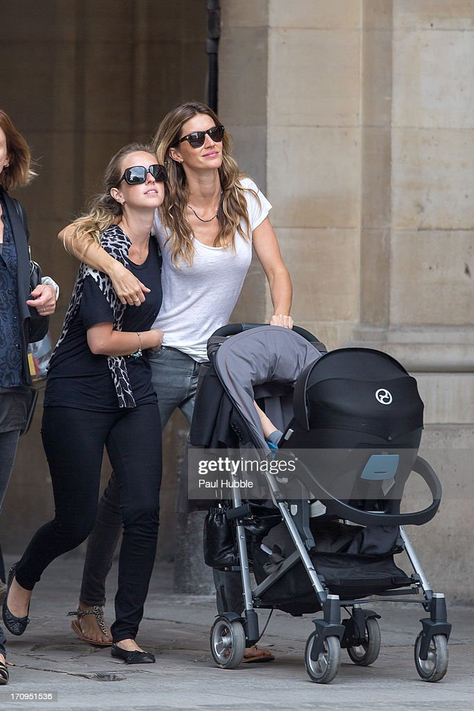 Model Gisele Bundchen (R) and her sister Rafaela Bundchen (L) are sighted on the 'Place Colette' on June 20, 2013 in Paris, France.
