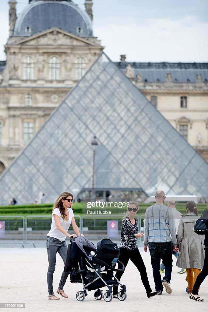 Model Gisele Bundchen and her sister Rafaela Bundchen are sighted near the 'Louvre' museum on June 20, 2013 in Paris, France.