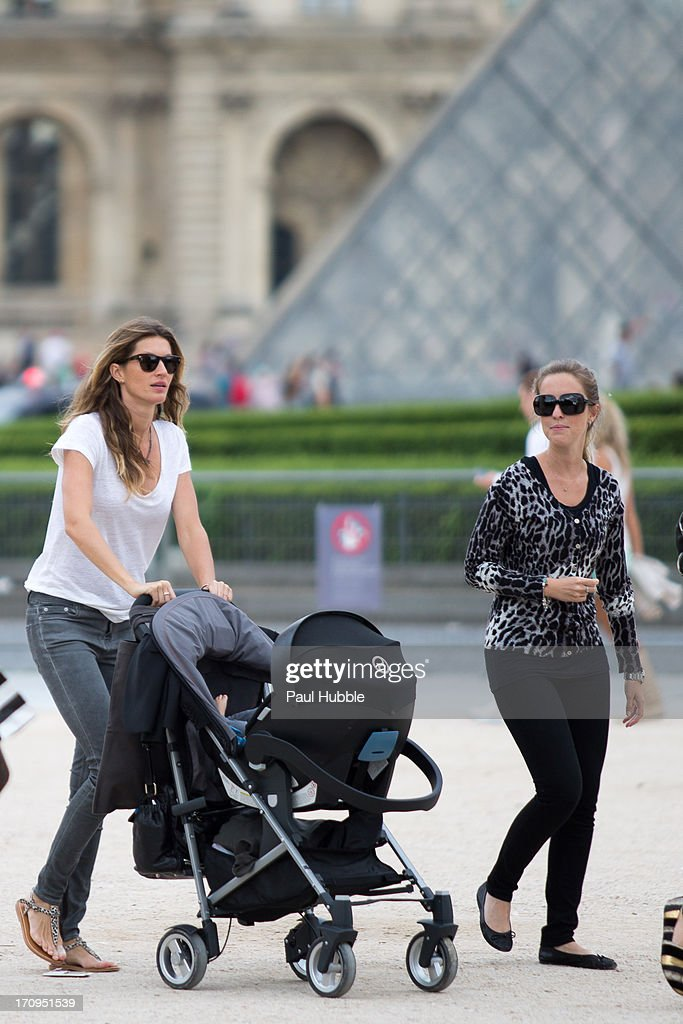Model Gisele Bundchen (L) and her sister Rafaela Bundchen (R) are sighted near the 'Louvre' museum on June 20, 2013 in Paris, France.