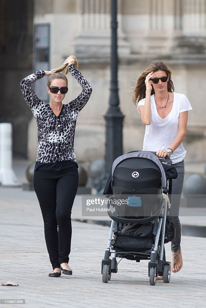 Model Gisele Bundchen (R) and her sister Rafaela Bundchen (L) are sighted near the 'Louvre' museum on June 20, 2013 in Paris, France.