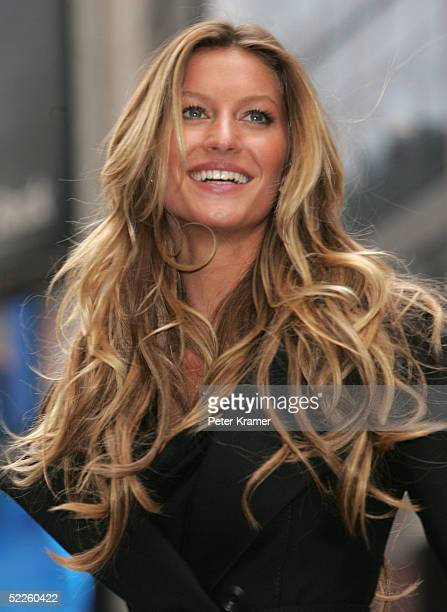 Model Gisele Bundchen appears Times Square to help Victoria's Secret launch their new advanced bra IPEX on March 1 2005 in New York City