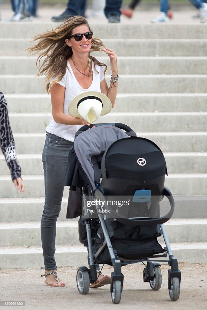 Model Gisele Bundchen is sighted in the 'Tuileries' gardens on June 20, 2013 in Paris, France.