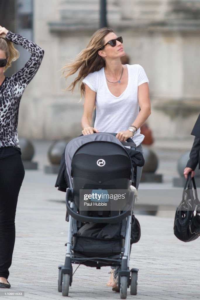 Model Gisele Bundchen is sighted near the 'Louvre' museum on June 20, 2013 in Paris, France.