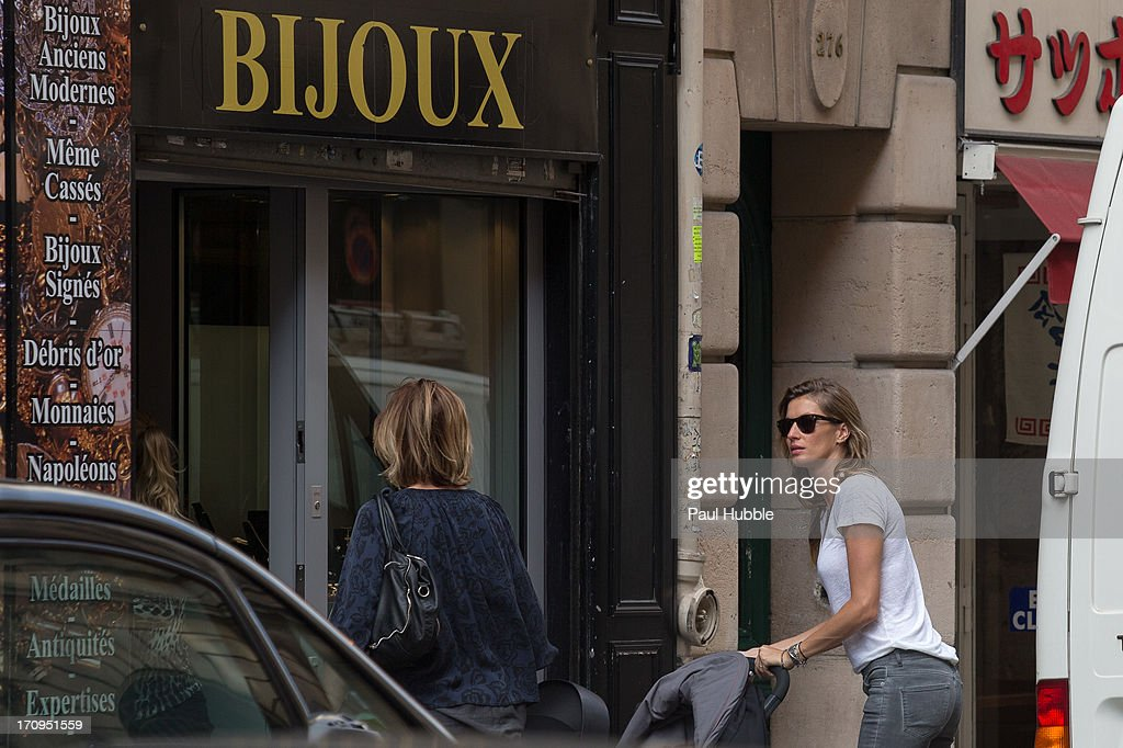 Model Gisele Bundchen is sighted on the 'Rue Saint Honore' on June 20, 2013 in Paris, France.