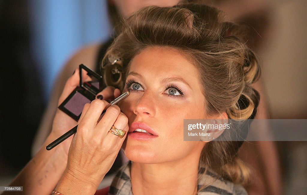 Model Gisele Bundchen prepares backstage before the Victoria's Secret Fashion Show on November 16 2006 at the Renaissance Hotel in Hollywood...