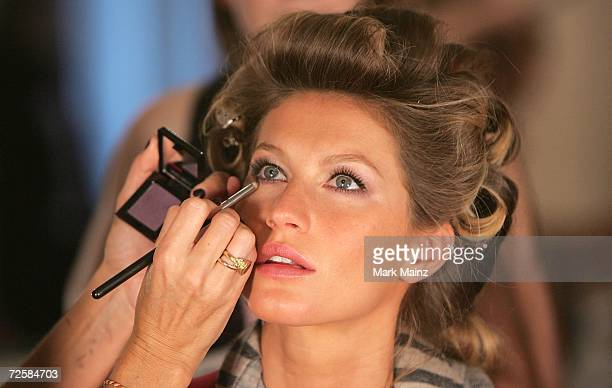Model Gisele Bundchen prepares backstage before the Victoria's Secret Fashion Show on November 16 2006 at the Renaissance Hotel in Hollywood...