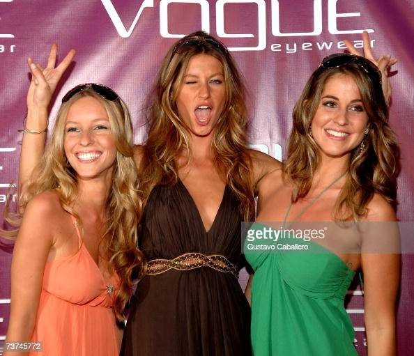 Model Gisele Bundchen with her sisters at the Vogue Fantasy Chic Shack Beach Party at Tottem Gardens on March 29 2007 in Miami Florida