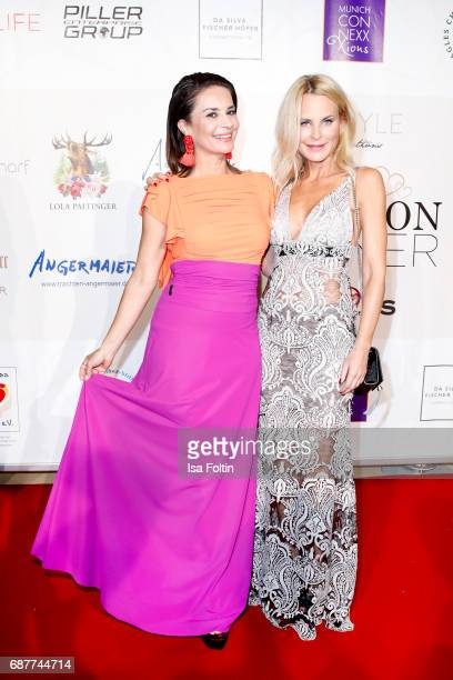 Model Gitta Saxx and Fashion designer Sonja Kiefer attend the Kempinski Fashion Dinner on May 23 2017 in Munich Germany