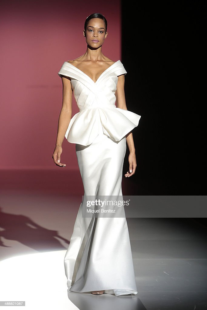 Model Gode Liv Van Den Brant walks the runway during the Hannibal Laguna fashion show as part of 'Barcelona Bridal Week 2014' on May 8, 2014 in Barcelona, Spain.