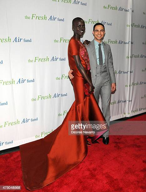 Model Grace Bol and designer Zac Posen attend 2015 Fresh Air Fund's Salute to American Heroes at Pier Sixty at Chelsea Piers on May 28 2015 in New...