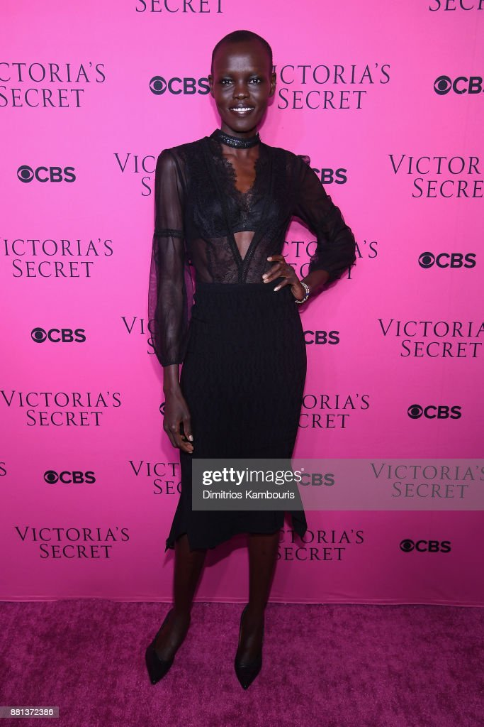 Model Grace Bol attends as Victoria's Secret Angels gather for an intimate viewing party of the 2017 Victoria's Secret Fashion Show at Spring Studios on November 28, 2017 in New York City.