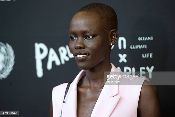 Model Grace Bol attends the President of the General Assembly of the United Nations and Parley for the Oceans launch event at the United Nations...