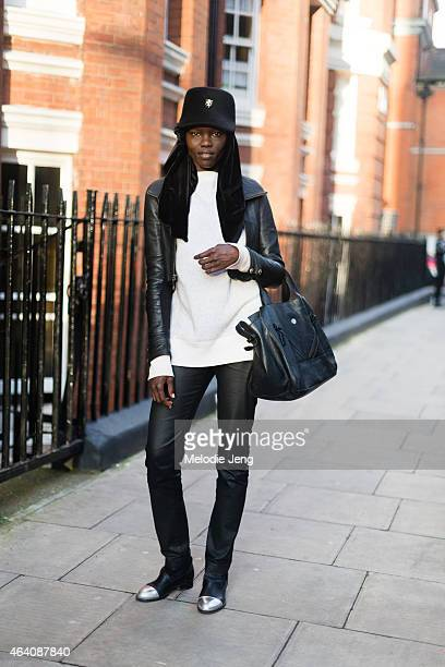 Model Grace Bol exits the JW Anderson show during London Fashion Week Fall/Winter 2015/16 at Yeomanry House on February 21 2015 in London England