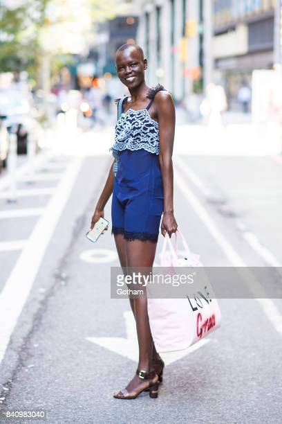 Model Grace Bol is seen going to fittings for the 2017 Victoria's Secret Fashion Show in Midtown on August 30 2017 in New York City