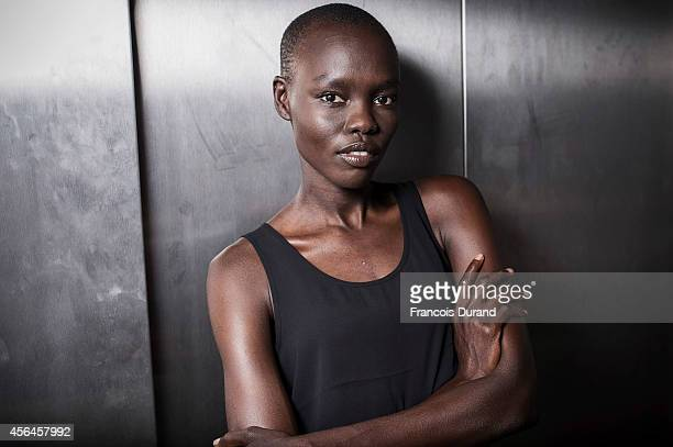 Model Grace Bol poses backstage prior the Allude show as part of the Paris Fashion Week Womenswear Spring/Summer 2015 on October 1 2014 in Paris...