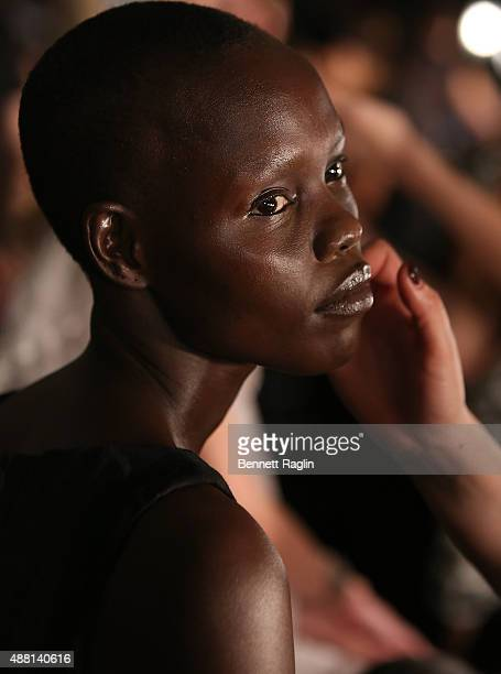 Model Grace Bol prepares for the Opening Ceremony fashion show Backstage during Spring 2016 New York Fashion Week on September 13 2015 in New York...