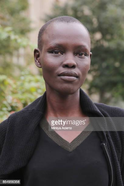 Model Grace Bol seen during Paris Fashion Week Womenswear Spring/Summer 2018 on September 27 2017 in Paris France