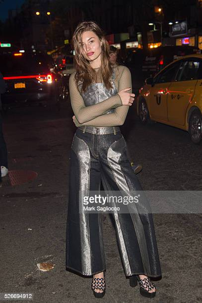 Model Grace Elizabeth attends the Voguecom Met Gala Cocktail Party at Search Destroy on April 30 2016 in New York City