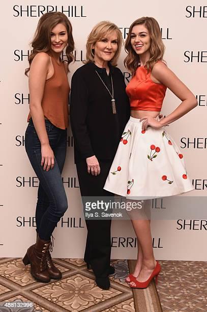 Model Grace Elizabeth designer Sherri Hill and model Sadie Robertson pose backstage at the Sherri Hill Spring 2016 fashion show during New York...
