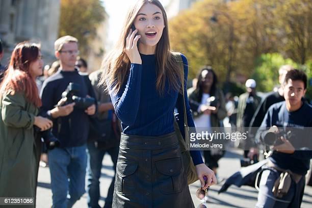 Model Grace Elizabeth outside the Giambattista Valli show at Grand Palais on October 3 2016 in Paris France