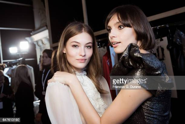 Model Grace Elizabeth poses backstage before the Redemption show as part of the Paris Fashion Week Womenswear Fall/Winter 2017/2018 on March 3 2017...