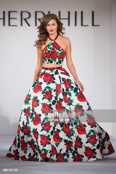 Model Grace Elizabeth walks the runway at the Sherri Hill fashion show during Spring 2016 New York Fashion Week The Shows at The Plaza on September...