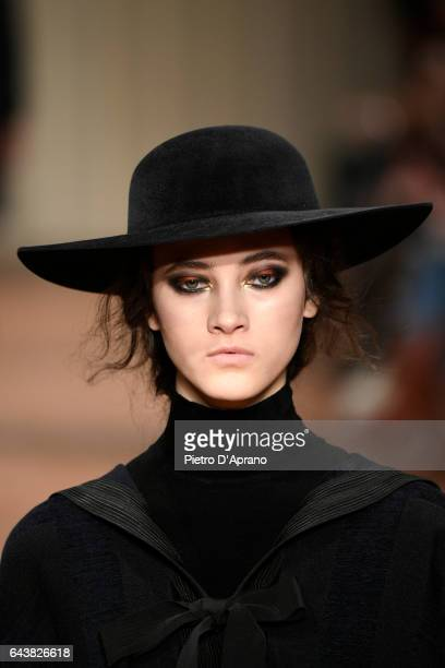 Model Greta Varlese hat detail walks the runway at the Alberta Ferretti show during Milan Fashion Week Fall/Winter 2017/18 on February 22 2017 in...