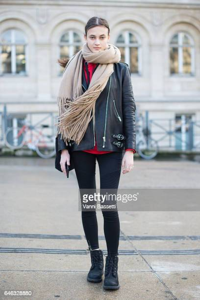 Model Greta Varlese poses wearing Timberland boots after the Olivier Theyskens show at the Gare de Lyon during Paris Fashion Week Womenswear FW 17/18...