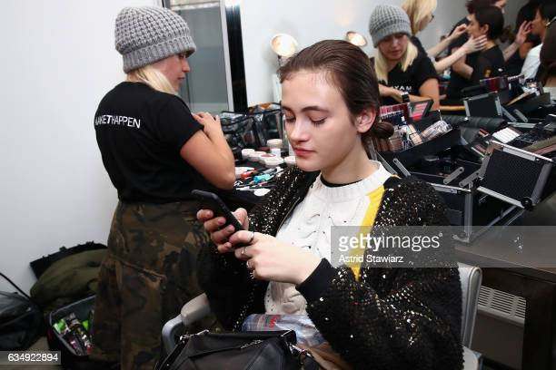 Model Greta Varlese prepares backstage for the Public School collection during New York Fashion Week The Shows at Milk Gallery on February 12 2017 in...