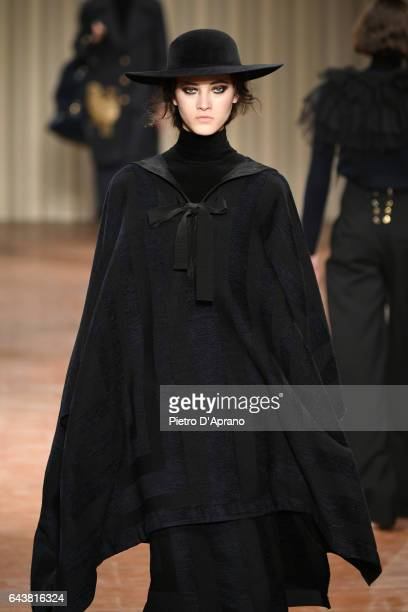 Model Greta Varlese walks the runway at the Alberta Ferretti show during Milan Fashion Week Fall/Winter 2017/18 on February 22 2017 in Milan Italy