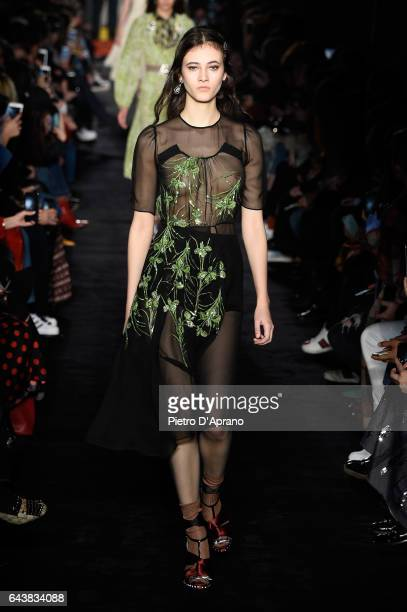 Model Greta Varlese walks the runway at the N21 show during Milan Fashion Week Fall/Winter 2017/18 on February 22 2017 in Milan Italy