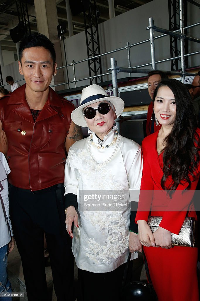 Model Gu You Ming, Owner of Lanvin Shaw Lan Wang and Tao Tao attends the Lanvin Menswear Spring/Summer 2017 show as part of Paris Fashion Week on June 26, 2016 in Paris, France.