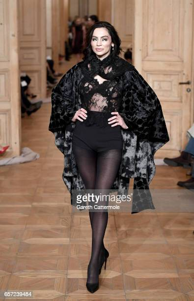 Model Gunay Musayeva walks the runway at the Cigdem Akin show during MercedesBenz Istanbul Fashion Week March 2017 at Grand Pera on March 24 2017 in...