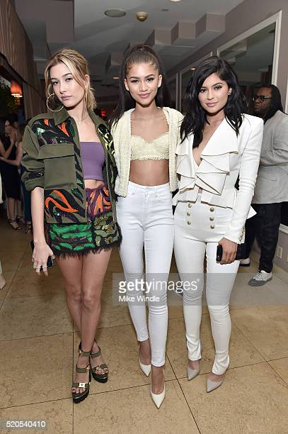 Model Hailey Baldwin actress Zendaya and tv personality Kylie Jenner attend the 'Fresh Faces' party hosted by Marie Claire celebrating the May issue...