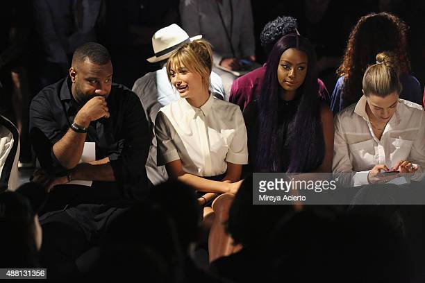 Model Hailey Baldwin and singer Justine Skye attend Public School Spring 2016 during New York Fashion Week The Shows at The Arc Skylight at Moynihan...