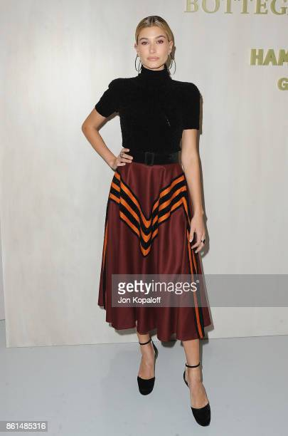 Model Hailey Baldwin arrives at Bottega Veneta Hosts Hammer Museum Gala In The Garden on October 14 2017 in Westwood California